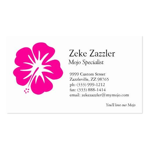 Hot Pink Hibiscus Business Card Templates