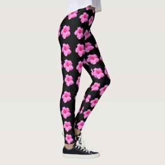 Hot Pink Hibiscus Flower Pattern,  Ladies Leggings