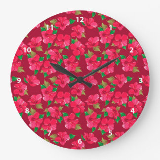 Hot Pink hibiscus Pattern Clock