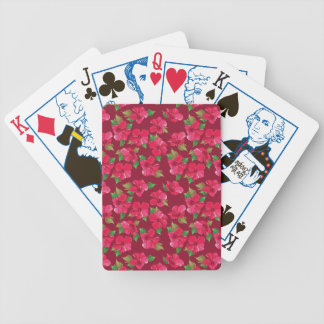 Hot Pink hibiscus Pattern Poker Deck