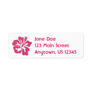 Hot Pink Hibiscus Tropical Island Flower Floral Return Address Label