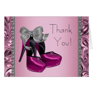 Hot Pink High Heel Shoe Thank You Card