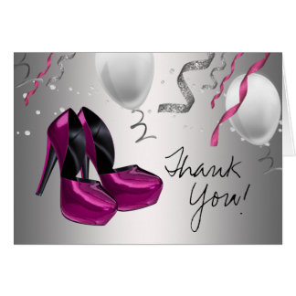 Hot Pink High Heel Shoes Thank You Cards