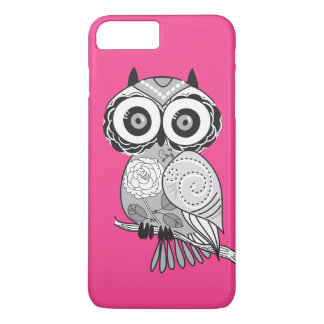 Hot Pink Hipster Groovy Cute Owl Girly iPhone 7 Plus Case