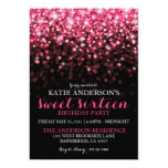 Hot Pink Hollywood Glitter Sweet Sixteen Party 13 Cm X 18 Cm Invitation Card