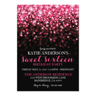 Hot Pink Hollywood Glitter Sweet Sixteen Party Card