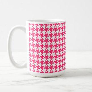 Hot Pink Houndstooth Coffee Mug
