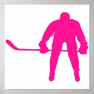 Hot Pink Ice Hockey Print
