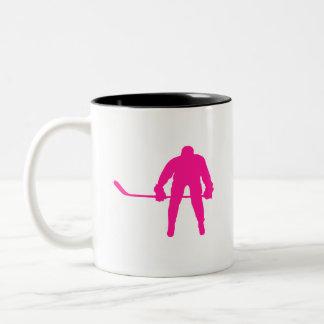 Hot Pink Ice Hockey Two-Tone Mug