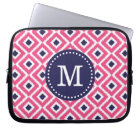 Hot Pink Ikat Diamonds Custom Monogram Laptop Sleeve