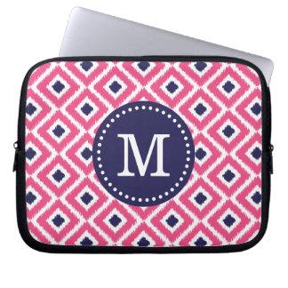Hot Pink Ikat Diamonds Custom Monogram Laptop Sleeve