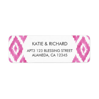 Hot Pink Ikat Return Address Label