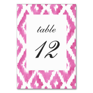 Hot Pink Ikat Table Cards