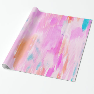 Hot Pink Ikat Watercolor Design Wrapping Paper