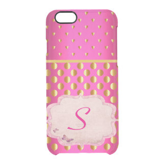 Hot Pink India Monogram Gold Coins Sari Inspired Clear iPhone 6/6S Case