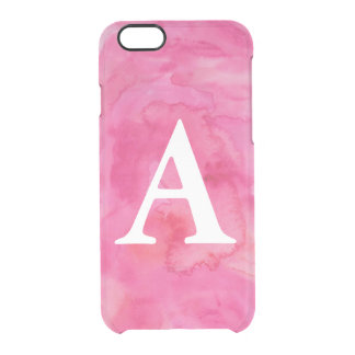 Hot Pink Initial Watercolor iPhone 6/6s Case