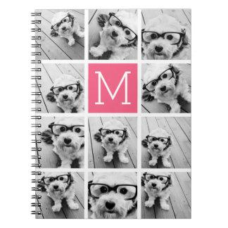 Hot Pink Instagram Photo Collage Custom Monogram Notebooks