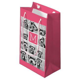 Hot Pink Instagram Photo Collage Custom Monogram Small Gift Bag