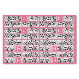 Hot Pink Instagram Photo Collage Custom Monogram Tissue Paper