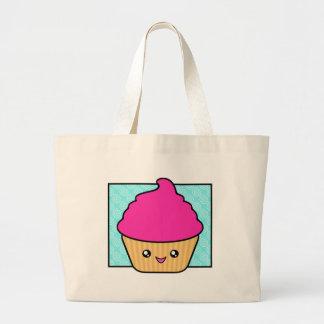 Hot Pink Kawaii Cupcake Large Tote Bag