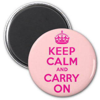 Hot Pink Keep Calm And Carry On Best Price 6 Cm Round Magnet