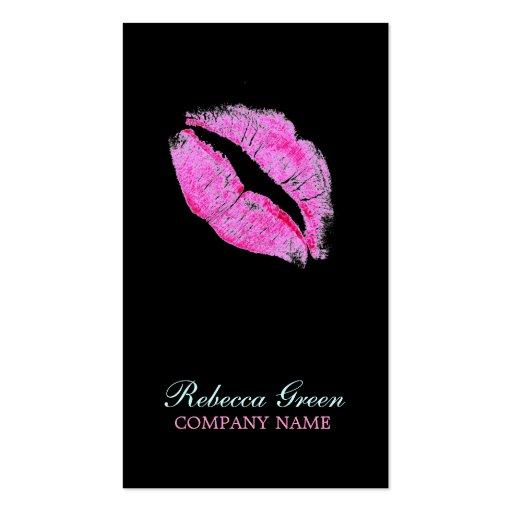hot pink kiss Makeup Artist Business Business Card Template