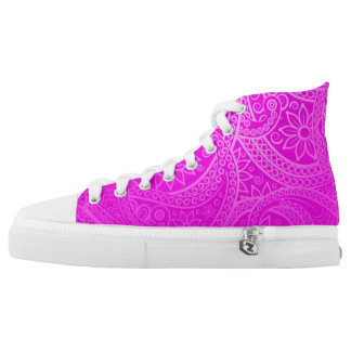 Hot Pink Lace Design High Tops