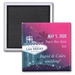 Hot Pink Las Vegas Strip Wedding Save the Date Square Magnet