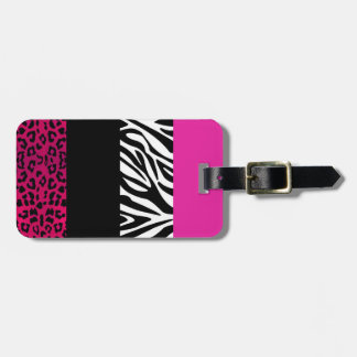 Hot Pink Leopard and Zebra Animal Print Luggage Tag