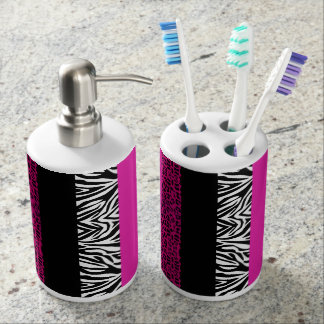 Hot Pink Leopard and Zebra Animal Print Soap Dispenser And Toothbrush Holder
