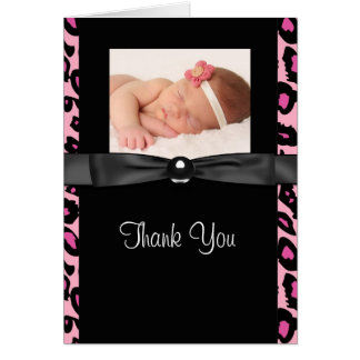 Hot Pink Leopard Baby Photo Thank You Cards