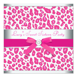 Hot Pink Leopard Bow Pink Leopard Sweet 16 Party 5.25x5.25 Square Paper Invitation Card