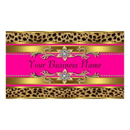 Hot Pink Leopard Business Cards