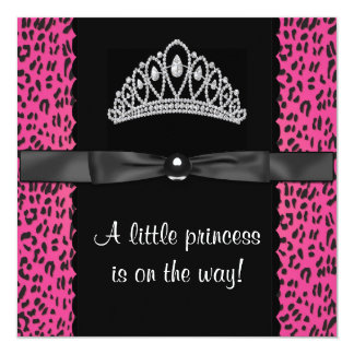 Hot Pink Leopard Princess Baby Girl Baby Shower 13 Cm X 13 Cm Square Invitation Card