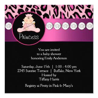 Hot Pink Leopard Princess Girl Baby Shower 13 Cm X 13 Cm Square Invitation Card