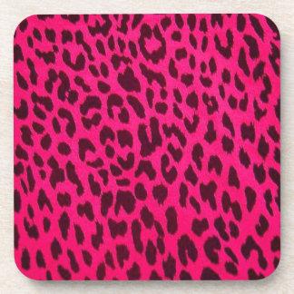 Hot Pink Leopard Print Cork Coaster (Square)