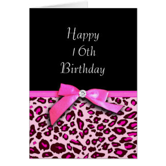 Hot pink leopard print Happy Sweet 16th Birthday Card