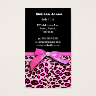 Hot pink leopard print ribbon bow graphic business card