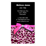 Hot pink leopard print ribbon bow graphic business card templates