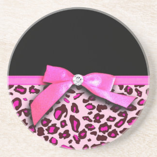 Hot pink leopard print ribbon bow graphic drink coaster