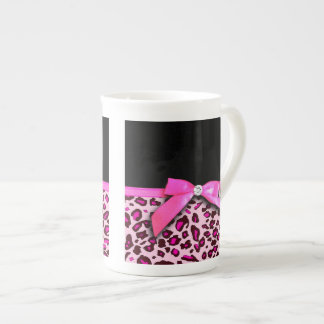 Hot pink leopard print ribbon bow graphic tea cup