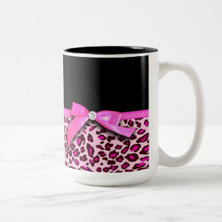 Hot pink leopard print ribbon bow graphic Two-Tone coffee mug