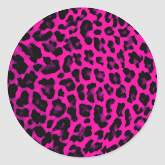 Hot Pink Leopard Print Round Sticker