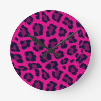 Hot Pink Leopard Print Wall Clock