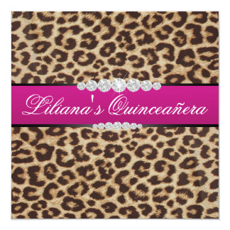 Hot pink Leopard quinceanera Card
