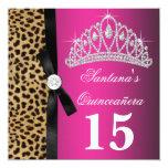 Hot Pink Leopard Quinceanera 13 Cm X 13 Cm Square Invitation Card
