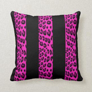 Hot Pink Leopard Stripes Throw Pillow
