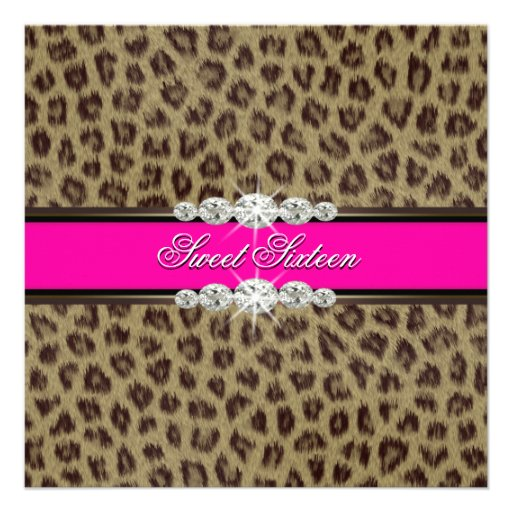 Hot Pink Leopard Sweet Sixteen Birthday Party Announcement