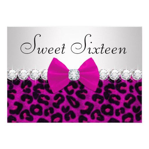 Hot Pink Leopard Sweet Sixteen Announcement
