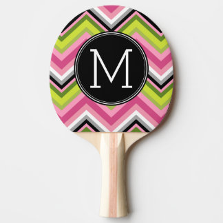 Hot Pink, Lime and Black Chevron Pattern Monogram Ping Pong Paddle